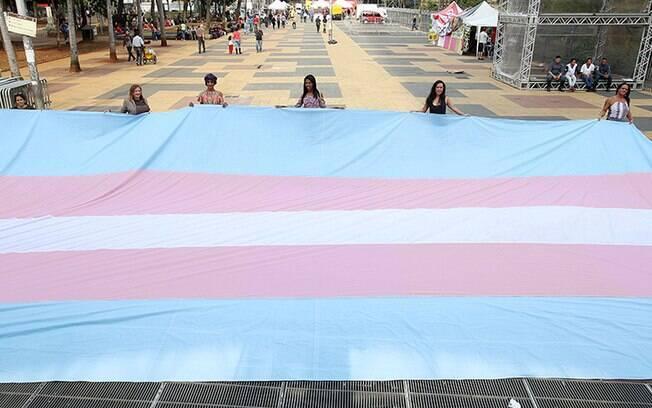 Bandeira nas cores azul, branco e rosa representam a comunidade trans