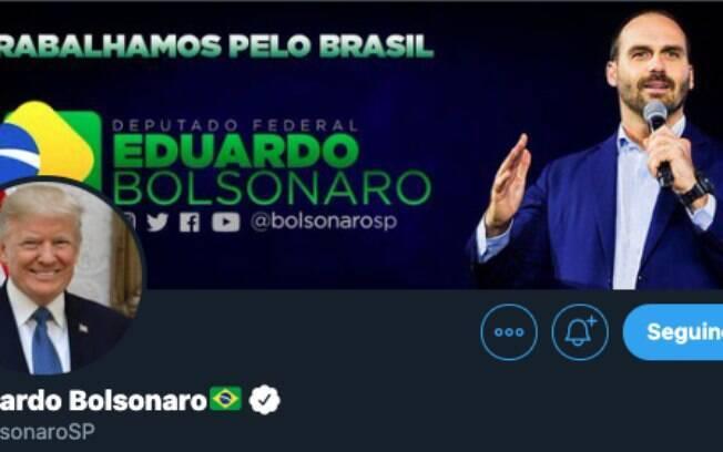 perfil do deputado com a foto de Trump