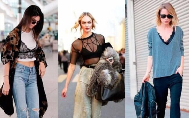 Lingeries bordadas, bodies e sutiãs aparentes ou sobrepostos estão cada vez mais comuns nas ruas durante o dia ou noite