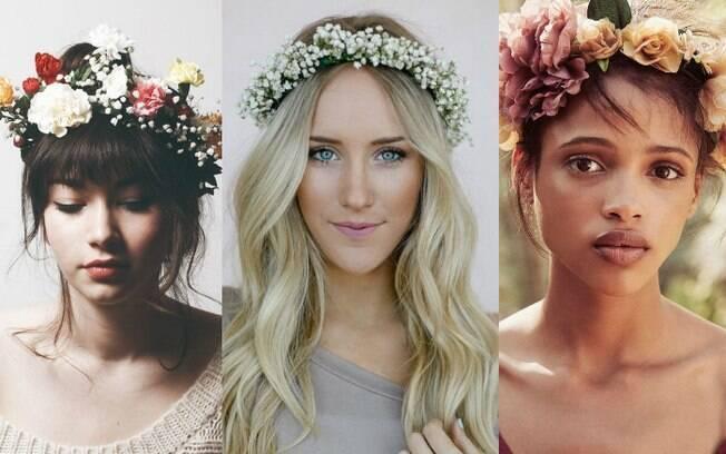Coroa de flor pode ser feita em casa, com a ajuda de uma faixa fina de cabelo, flores artificiais e cola quente