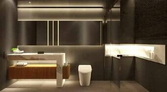 Preto e branco marcam projeto com toque minimalista no banheiro