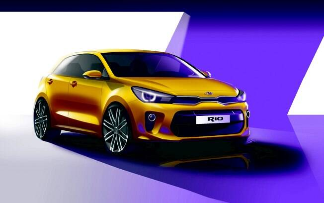 Desenho do novo Kia Rio mostra que o hatch ganhará apelo esportivo na comparação com a atual geração