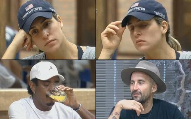 Joana Machado, Gui Pádua e Compadre Washington conversam durante o café da manhã