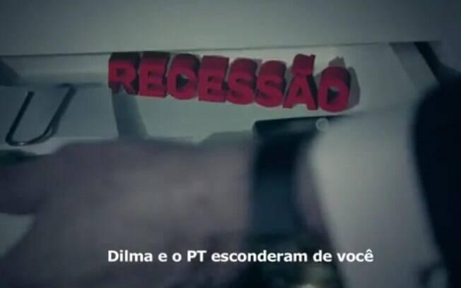 Reprodução de trecho do vídeo de 30 segundos divulgado em rede nacional pelo PSDB