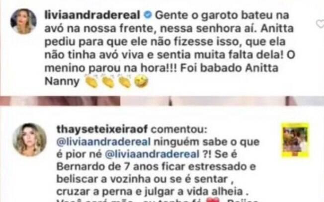 Livia Andrade elogia atitude de Anitta e ganha alfinetada de Thayse
