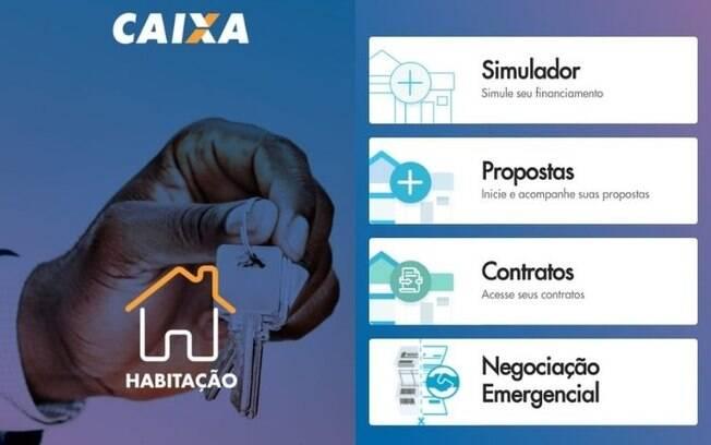 No app Habitação Caixa, é possível resolver diversas questões ligadas à habitação; função que estreia nesta segunda é a de pedir empréstimos