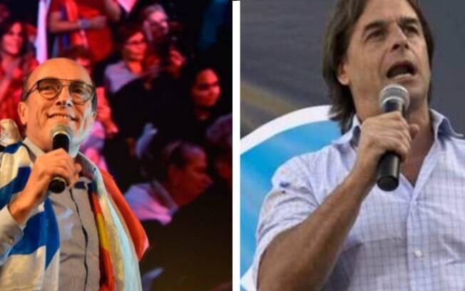 Daniel Martínez, da Frente Ampla, e Luis Lacalle Pou, do Partido Nacional