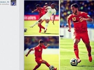 Perfil do belga no Instagram tem três fotos de lances protagonizados por ele no jogo contra a Argélia no Mineirão