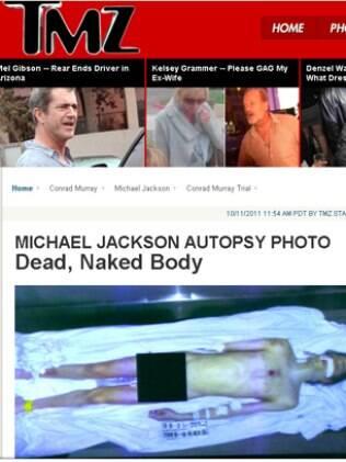 Michael Jackson após a necropsia