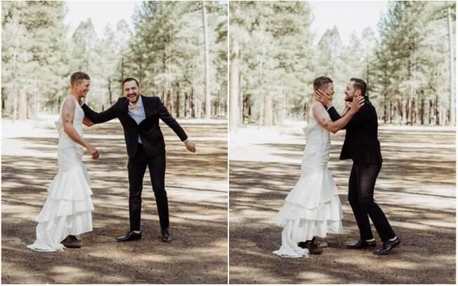 Ao ver o cunhado usando um vestido de noiva no lugar da futura esposa, Val caiu na gargalhada e ficou mais calmo