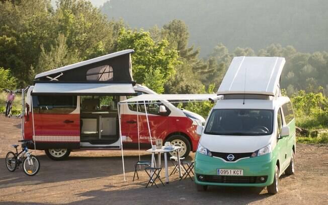 Uma das vans compactas criadas pela Nissan, a versão Camp, 100% elétrica, é um motorhome completo para até 4 pessoas