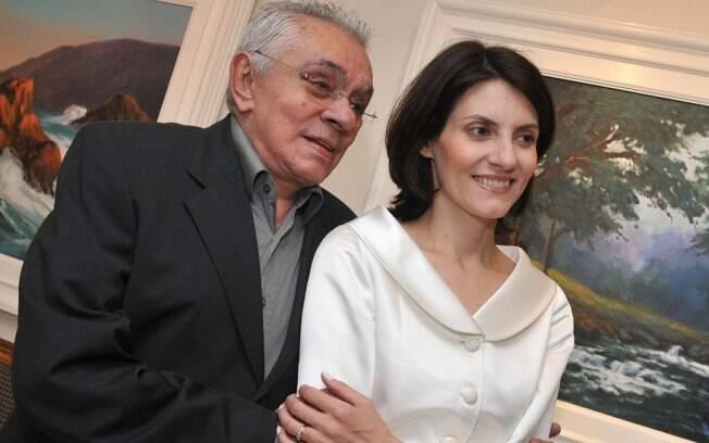 Chico Anysio com sua última esposa, Malga de Paula