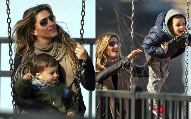 Gisele Bündchen brincou com Benjamin e John, filho de seu marido Tom Brady