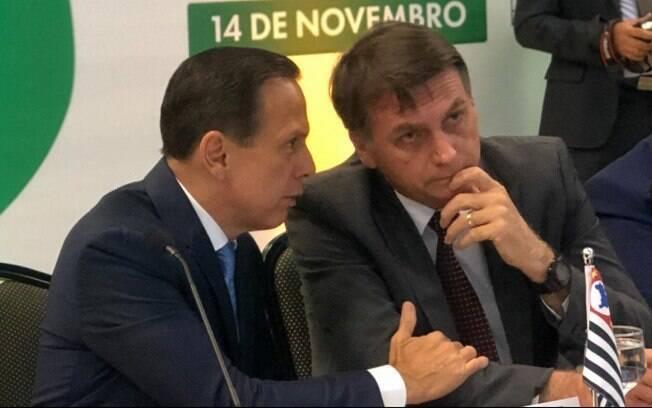 Governador eleito em São Paulo, João Doria (PSDB), e o futuro presidente Jair Bolsonaro