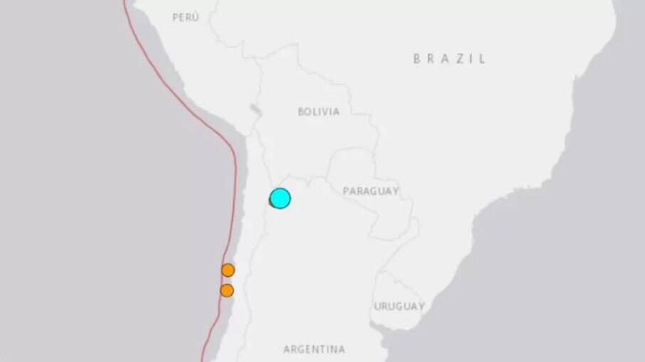 Ponto azul mostra região onde ocorreu o tremor
