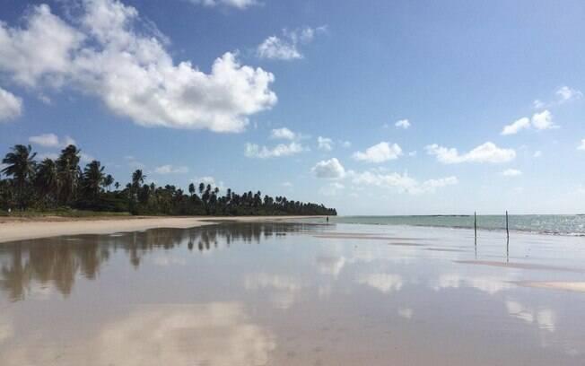 Praia do riacho, com o céu azul, areia clara e um mar exuberante.
