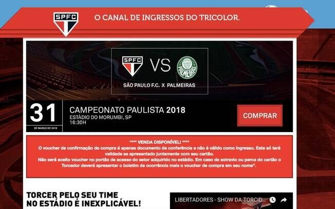 Site responsável pela venda de ingressos dos jogos do São Paulo, anunciou bilhetes para a
