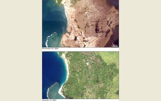 Impacto da onda gigantesca foi tão grande que alterou quadro geográfico da Indonésia (arquivo). Foto: Nasa