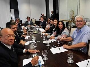 Bancada do PMDB reunida; Calheiros aparece ao fundo à direita (arquivo)