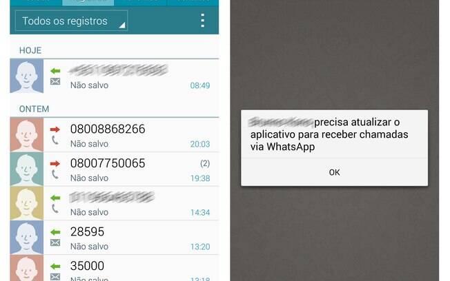 Ligações feitas pelo WhatsApp não aparecem na lista de últimas chamadas, comprovando que foi via rede de dados. Usuários de iOS não recebem ligações convite