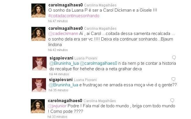 Carol Magalhães e Luana Povani trocaram ofensas pelo Twitter