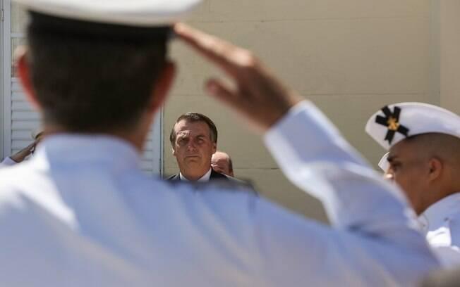 Presidente Jair Bolsonaro durante evento para celebrar aniversário do Corpo de Fuzileiros Navais
