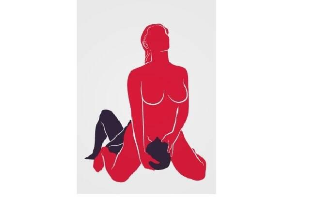 Aqui, a mulher se ajoelha sobre o rosto do homem, controlado o ângulo e a intensidade da estimulação