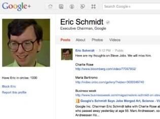 Perfil da conta de Eric Schmidt no Google+