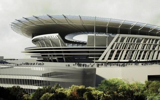 Projeção do novo estádio da Roma