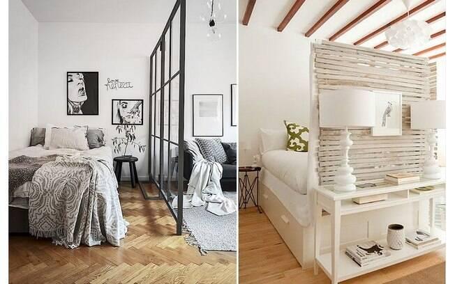 Posicionar painéis ao lado ou na frente da cama também é uma boa forma de delimitar uma área para o quarto