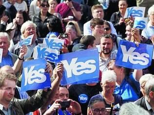 Campanha.  Escoceses a favor da independência do país participaram de evento em Glasgow, ontem
