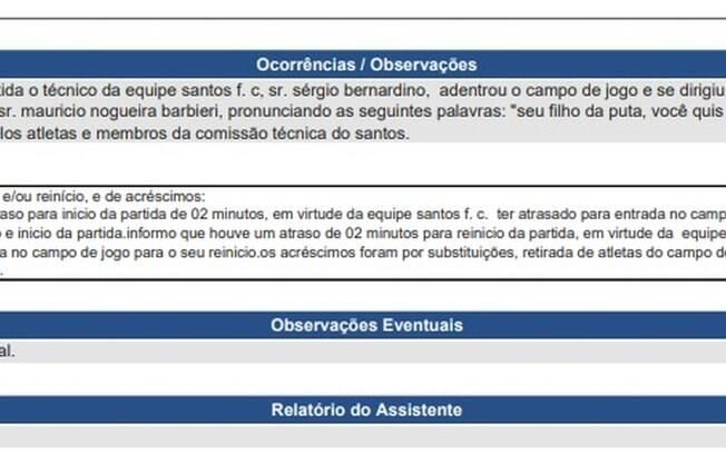 Confusão em jogo de Santos x Flamengo é relatado na súmula da partida