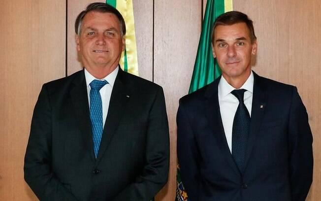 O presidente Jair Bolsonaro e André Brandão, novo presidente do BB
