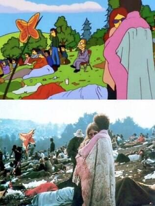 Woodstock e o vovô Simpson levemente incomodado com a situação.