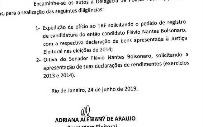 O senador Flávio Bolsonaro (PSL) deverá depor sobre suposto crime eleitoral.