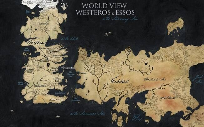 O mapa oficial de Westeros e Essos, os dois continentes onde se passam as histórias de