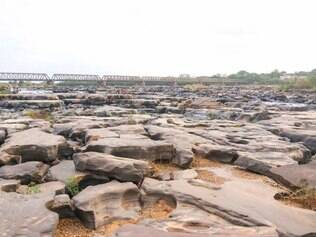 Foto tirada do rio São Francisco em Pirapora no dia 22 de outubro, durante a estiagem