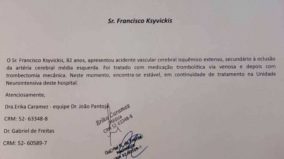 Boletim médico divulgado por Angélica