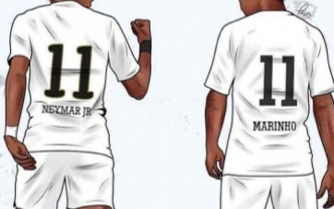 Neymar publica charge ao lado de Marinho e manda apoio ao Santos