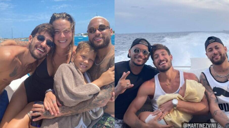 Neymar, Carol Dantas, Vinicius Martinez e Davi Lucca em passeio de lancha