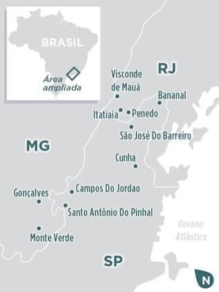 Localiza-se nas principais cidades das serras da Bocaina e Mantiqueira