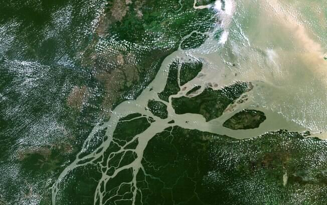 Orinoco River Vistos do alto, deltas...