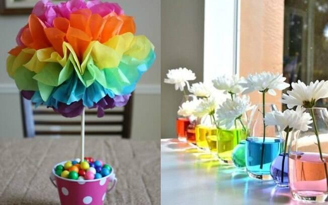 Mesas dos convidados também merecem um enfeitinho, e dá para fazer com materiais simples mesmo, sem dificuldade