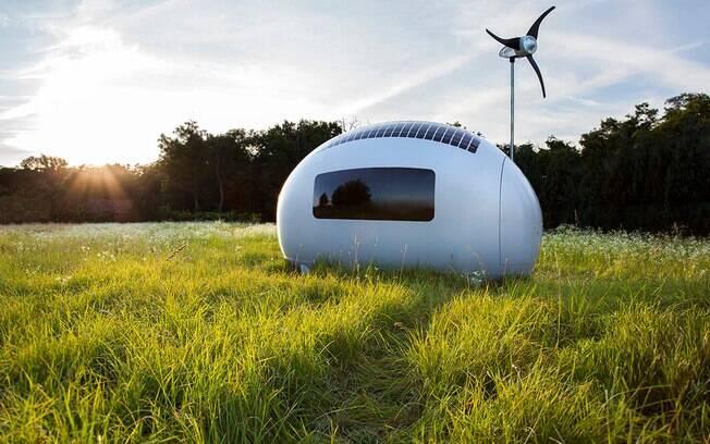 Cápsula promete abrigar duas pessoas confortavelmente usando apenas energia sustentável
