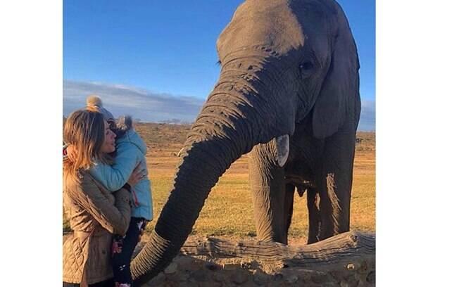 Grazi Massafera curte férias com Sofia e posa ao lado de elefante