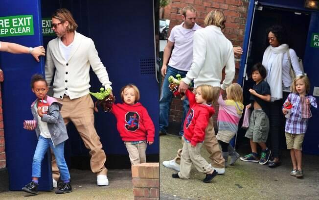 Brad Pitt e os filhos assistem ao novo filme de Jim Carrey