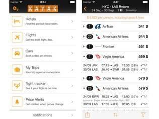 Disponivel para Android, iOS e Windows Phone, aplicativo do Kayak vai além da pesquisa de voos e hotéis, e rastreia também voos, entre várias outras funcionalidades