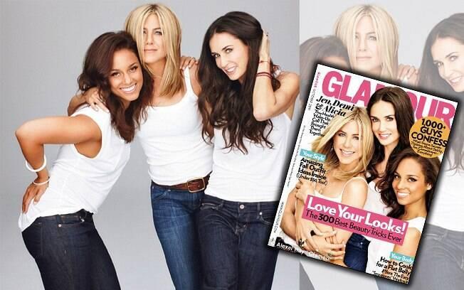 Jennifer Aniston, Demi Moore e Alicia Keys divulgam projeto contra o câncer de mama