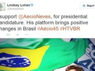 A atriz Lindsay Lohan postou uma declaração de apoio a Aécio Neves no Twitter.
