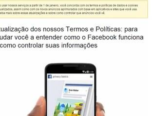 Mensagem divulgada pelo Facebook